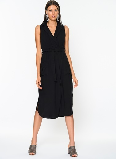 Loves You Kuşaklı Viskon Elbise Siyah